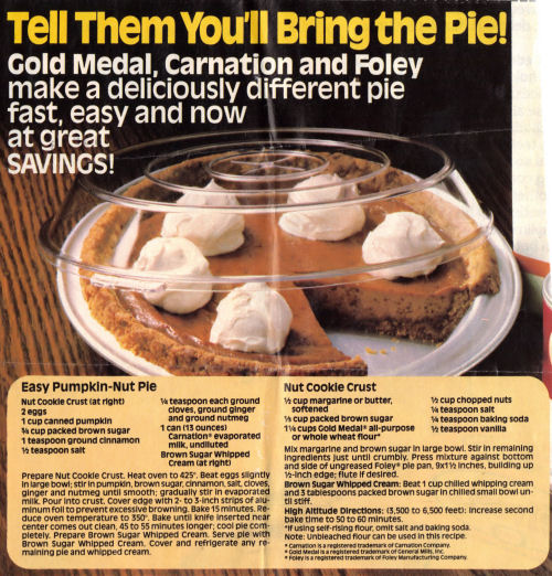 Recipe Clipping For Easy Pumpkin-Nut Pie