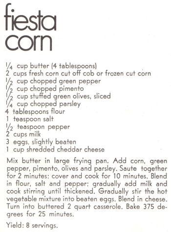 Recipe Clipping For Fiesta Corn