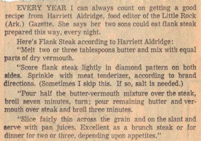Vintage Recipe For Flank Steak