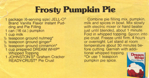 Recipe For Frosty Pumpkin Pie