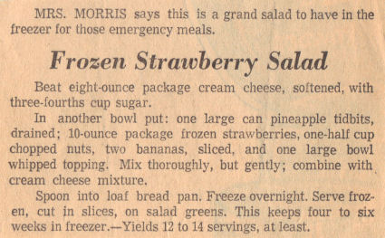 Vintage Recipe Clipping For Frozen Strawberry Salad