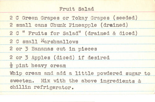 Typed Recipe Card For Fruit Salad