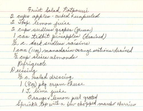 Handwritten Recipe For Fruit Salad