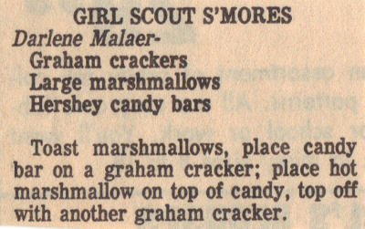 Recipe Clipping For Girl Scout Smores