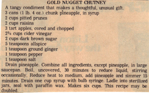 Recipe Clipping For Gold Nugget Chutney