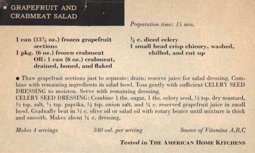 Recipe Clipping For Grapefruit And Crabmeat Salad