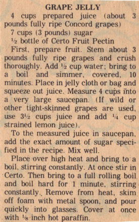 Vintage Clipping For Grape Jelly Recipe