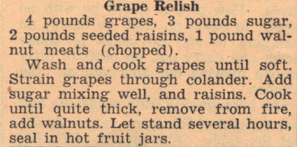 Old Clipping For Grape Relish