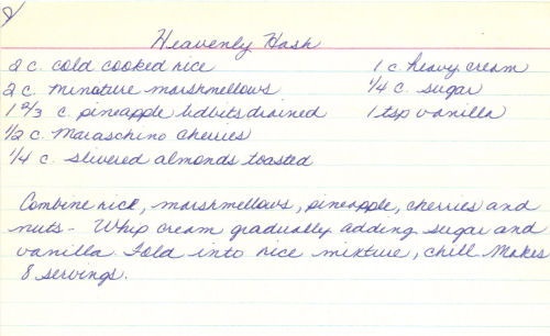 Handwritten Recipe For Heavenly Hash