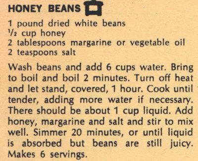 Recipe Clipping For Honey Beans