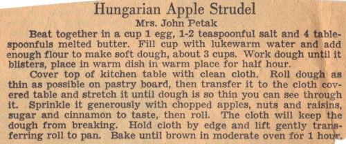 Recipe Clipping For Hungarian Apple Strudel