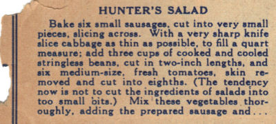 Vintage Recipe For Hunter's Salad