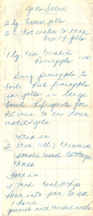 Handwritten Recipe For Jello Salad