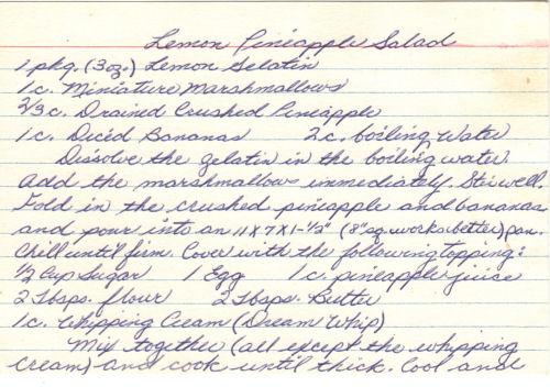 Handwritten Recipe Card For Lemon Pineapple Salad