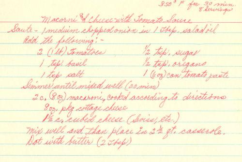 Handwritten Recipe For macaroni & Cheese With Tomato Sauce