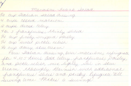 Handwritten Recipe Card For Macaroni & Frank Salad