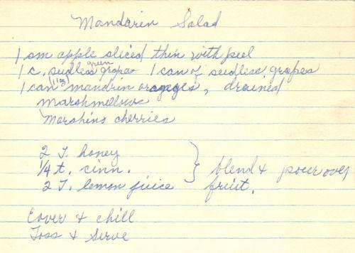 Handwritten Recipe Card For Mandarin Salad