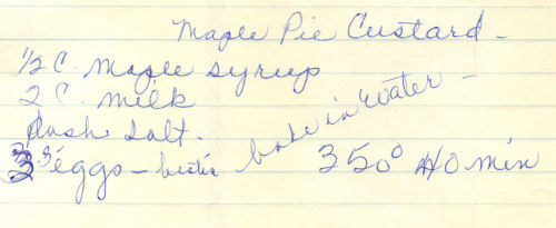 Handwritten Recipe For Maple Pie Custard
