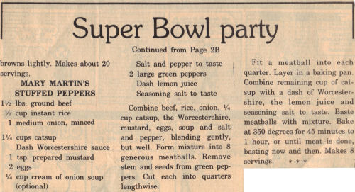 Recipe Clipping For Meatball Stuffed Peppers