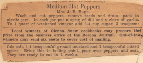 Vintage Recipe For Medium Hot Peppers