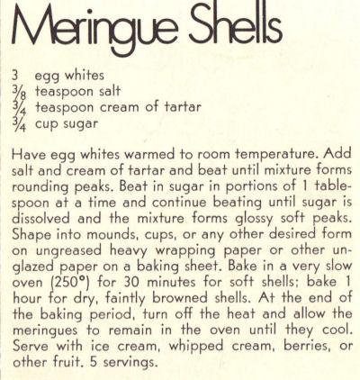 Recipe Clipping For Meringue Shells