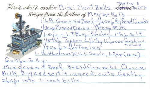 Handwritten Mini Meatballs Recipe Card