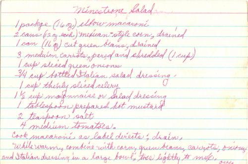 Handwritten Recipe For Minestrone Salad