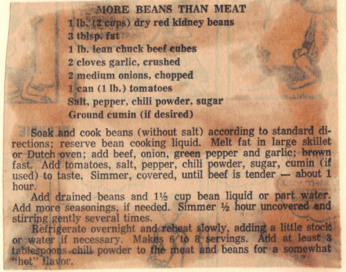 Recipe Clipping For More Beans Than Meat