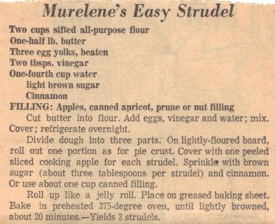 Recipe Clipping For Murelene's Easy Strudel