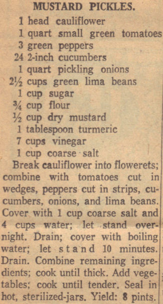 Vintage Clipping For Mustard Pickles