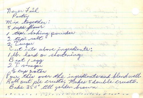 Handwritten Recipe For Never Fail Pastry