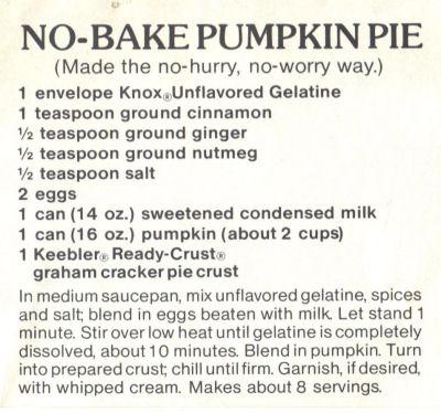 Recipe For No-Bake Pumpkin Pie
