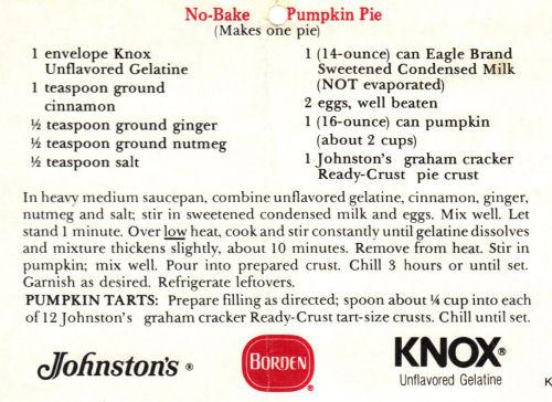 No-Bake Pumpkin Pie Recipe Clipping