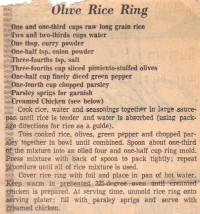 Recipe Clipping For Olive Rice Ring