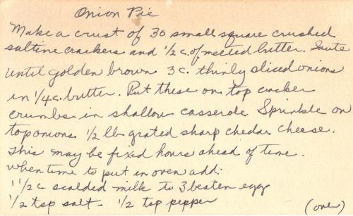 Handwritten Recipe For Onion Pie