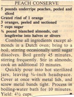 Recipe Clipping For Peach Conserve