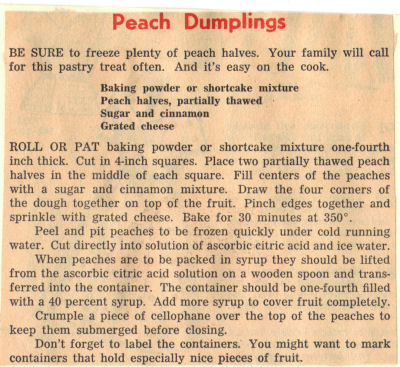 Recipe Clipping For Peach Dumplings