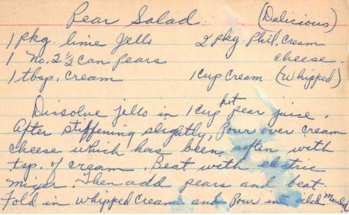 Handwritten Recipe Card For Pear Salad