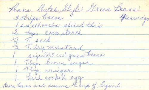 Handwritten Recipe For Green Beans