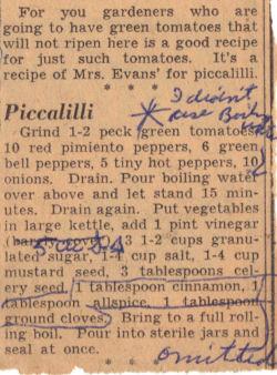 Recipe Clipping For Piccalilli