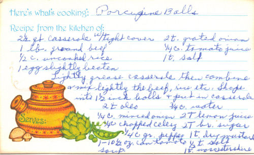 Handwritten Recipe Card For Porcupine Meatballs
