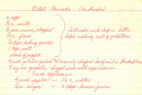 Handwritten Recipe For Potato Pancakes