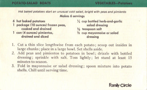 Recipe Card For Potato Salad Boats
