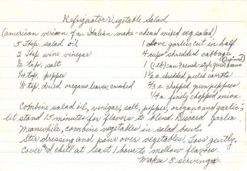Handwritten Recipe For Vegetable Salad