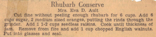 Recipe Clipping For Rhubarb Conserve