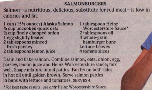 Salmonburgers Recipe Clipping