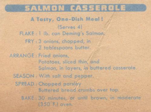 Salmon Casserole Recipe Clipping