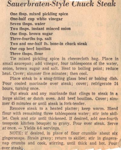 Recipe For Chuck Steak - Sauerbraten Style