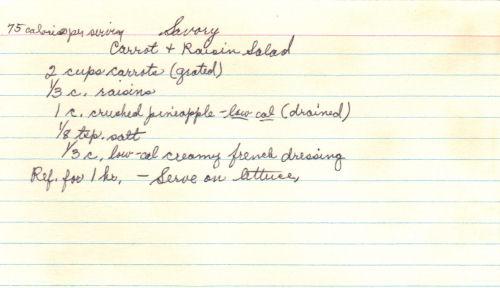Handwritten Recipe Card For Carrot & Raisin Salad