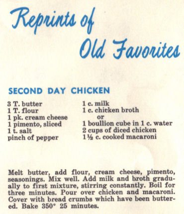 Vintage Recipe For Second Day Chicken